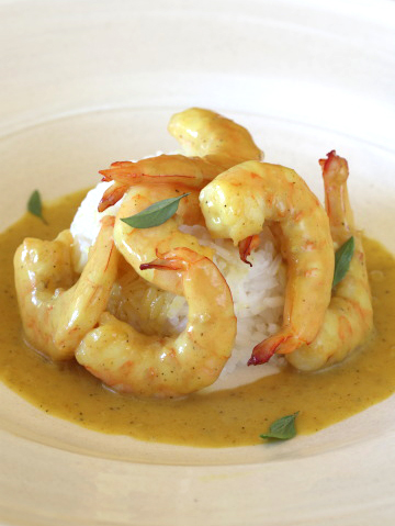 Beautiful Lowcountry Shrimp in a Rich, Buttery Curry Sauce