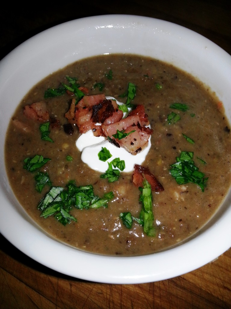 French Green Lentil Soup with Bacon and Creme Fraiche
