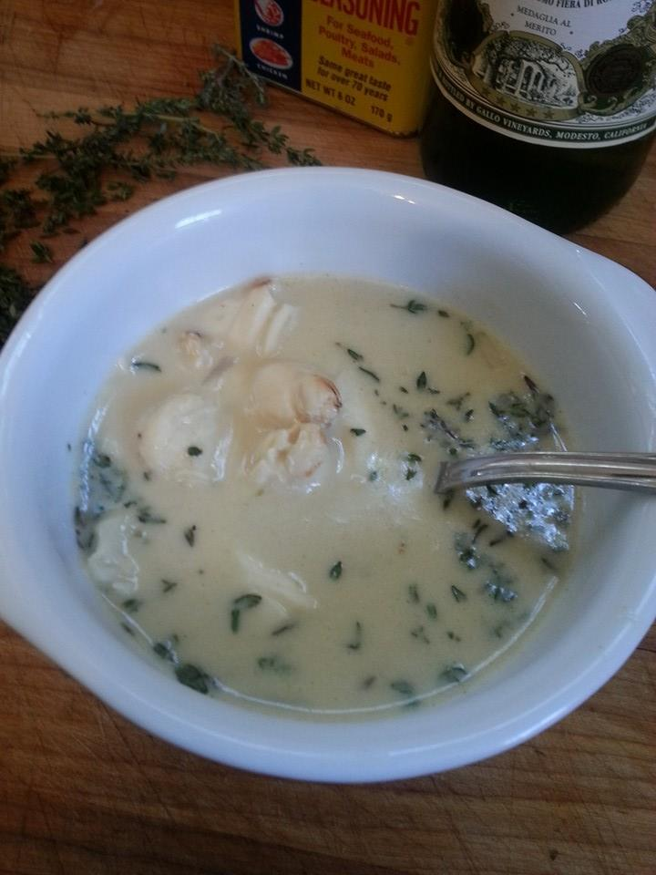 Blue Crab Bisque with Old Bay Seasoning, Vermouth and Fresh Thyme
