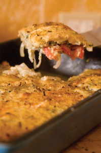 Fresh Sweet Onion and Tomato Gratin from Southern Farmers Market Cookbook (Gibbs Smith). Lovely photo by Rick McKee.