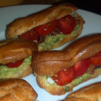 Bacon Avocado and Tomato Petite Eclairs