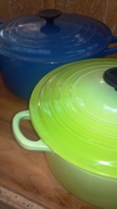 My trusted Le Creuset Dutch ovens, big blue and bright green delights.