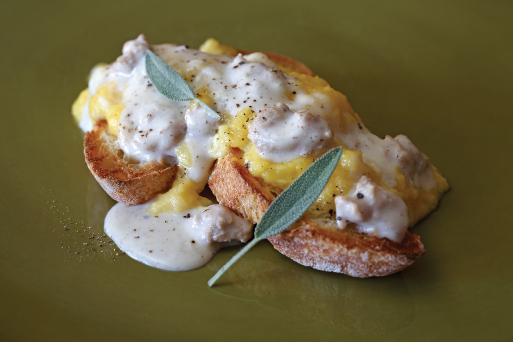Scrambled Eggs with Sage and Sausage Bechamel Sauce. Photo by Steven Rothfeld.