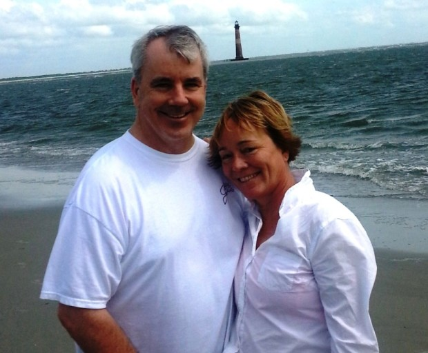 Michael and I enjoy a stroll on Folly Beach and a view of Morris Island Lighthouse.